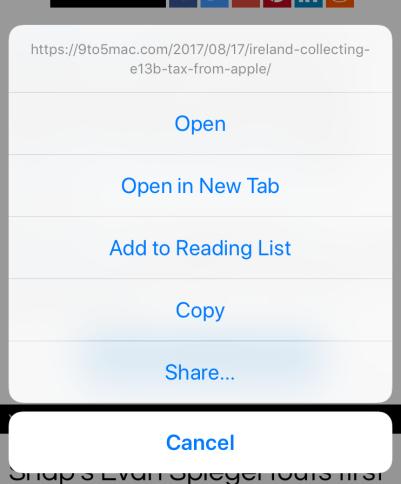 Список дій включає повну URL-адресу активованого вами посилання