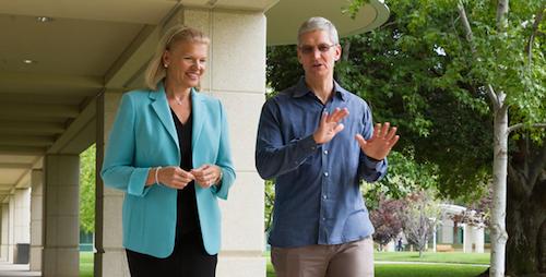 Тим Кук, глава Apple, и Джинни Рометти, генеральный директор IBM