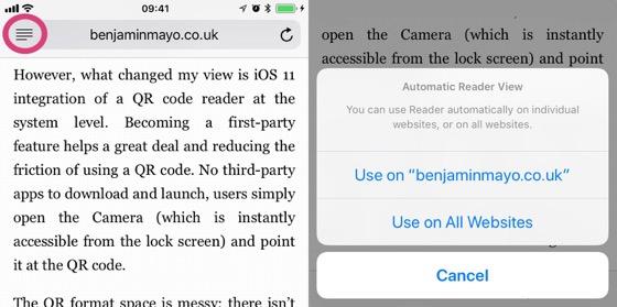 Safari може автоматично запускати режим читання для вибраних доменів