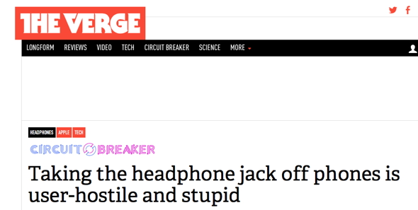 «Позбавлення телефонів міні-джеку є ворожим до клієнта та дурним»