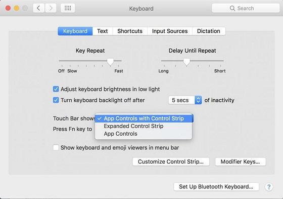Як налаштувати, щоб тачбар показував App Controls, Control Strip чи обидві функції