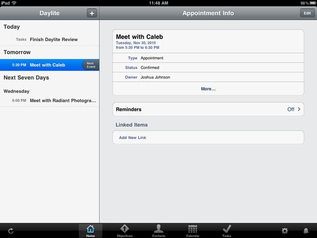 iPad Daylite week view