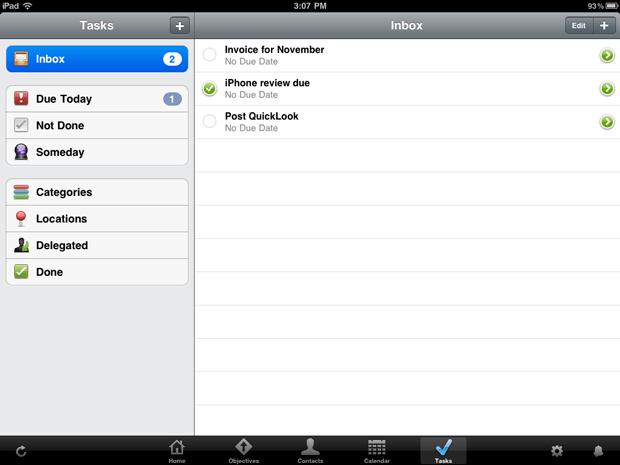 iPad Daylite tasks