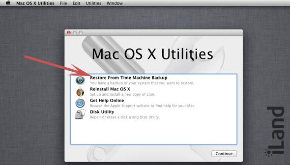 Восстановление резервной копии «Time Machine»