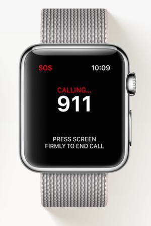 WatchOS 3 передбачатиме утримання бічної кнопки для ввімкнення функції SOS – набору 911 у випадку, якщо потрібна невідкладна медична допомога