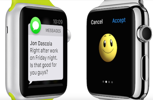 Обмен сообщениями с помощью Apple Watch