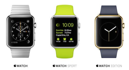 Три версии Apple Watch